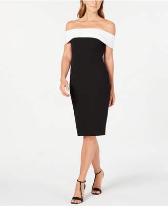 Calvin Klein Off-The-Shoulder Fold-Over Sheath Dress