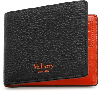 Mulberry 8 Card Wallet Black and Bright Orange Heavy Grain