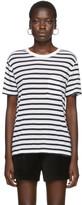 Alexander Wang White and Navy Striped Slub Pocket T-Shirt