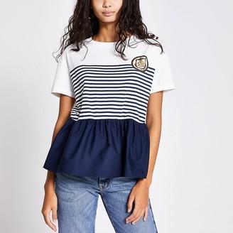 River Island White stripe peplum hem T-shirt