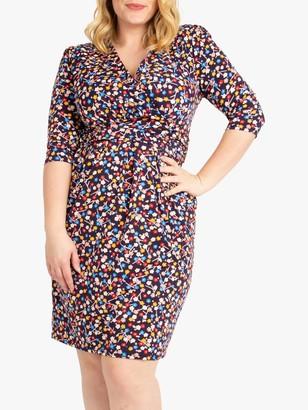Jolie Moi Floral Wrap Front Tulip Dress, Navy/Multi