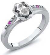 Gem Stone King 0.52 Ct Oval White Topaz Pink Sapphire 14K White Gold Ring