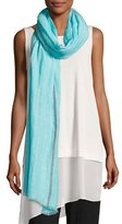 Eileen Fisher Distressed Organic Linen-Blend Striped Scarf, Scarab