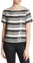 Cupcakes And Cashmere Wexner Striped Sequin Short Sleeve Shirt
