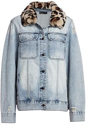 Ava & Kris Jane Fox Fur-Collar Denim Jacket