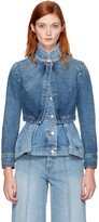 Alexander McQueen Blue Denim Peplum Jacket