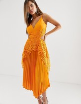 Asos Design DESIGN pleated midi dress with lace trim and hanky hem