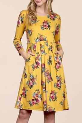 Riah Fashion Empire-Waist-Floral-Pleated Pocket Dress