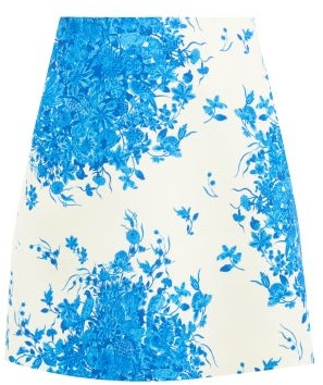 Valentino Delft-print Silk-twill Mini Skirt - Blue White