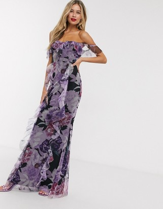 Lipsy frilly off shoulder maxi dress in floral print