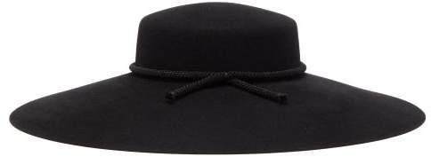 Saint Laurent Wide Brim Tasselled Felt Hat - Womens - Black