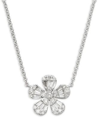 Saks Fifth Avenue 14K White Gold Diamond Floral Pendant Necklace