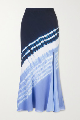 Altuzarra Sachiko Tie-dyed Silk Crepe De Chine Midi Skirt - Blue