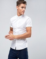 Asos Skinny Shirt In White With Short Sleeves And Button Down Collar