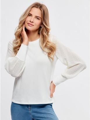 M&Co Dobby sleeve top