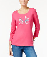 Karen Scott Bicycle Graphic Top, Only at Macy's
