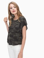 Splendid Camo Vintage Whisper Ruffle Top