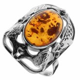 Ostsee-Schmuck Schmuck - 001-Ostsee 270001 A258 Women's Ring Sterling Silver 925/1000 Amber