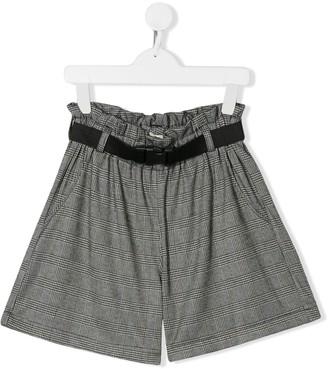 Andorine TEEN paperbag waist Glen check shorts