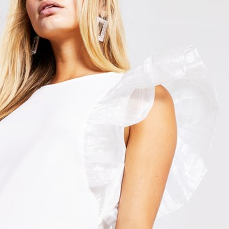 River Island Womens White taffeta frill top
