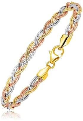 Overstock 14k Tri-Tone Gold Braided Design Multi Strand Mirror Spring Bracelet