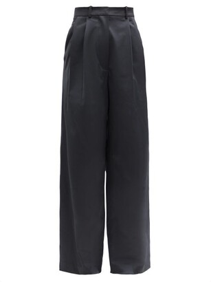 Dodo Bar Or Coco High-rise Wide-leg Satin Suit Trousers - Black