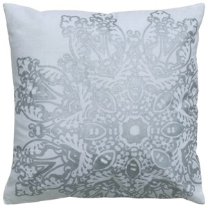 """Rizzy Home 18"""" x 18"""" Medallion Foil Print Down Filled Pillow"""