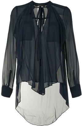 BCBGMAXAZRIA Semi-Sheer Silk Blouse