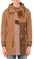 Valentino Patchwork Hooded Duffle Coat, Olive/Khaki