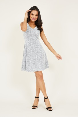 Yumi Grey Textured Skater Dress