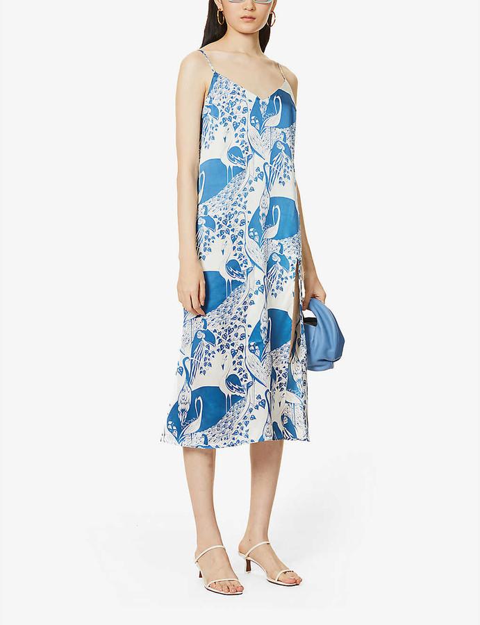 Reformation Britten graphic-print silk midi dress
