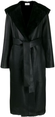 The Row Hooded Leather Midi Coat