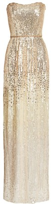 Jenny Packham Strapless Sequin Ombre Gown