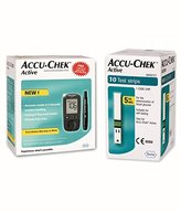 Accu Chek Active Blood Glucose Meter Kit (Multicolor)( Vial of 10 strips free)