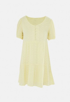 Missguided Yellow Half Button Tiered Smock Dress