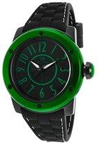 Glam Rock Ar5008 Women's Aqua Rock Black Silicone And Dial Green Bezel Black Ip Ss Watch