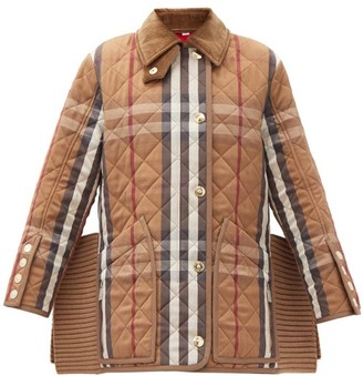 Burberry Ribbed-inserts Heritage-check Quilted Coat - Brown