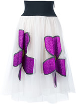 Christopher Kane midi glitter flower skirt - women - Nylon/Polyester - 42