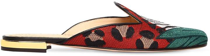 Charlotte Olympia 10mm Zebra Embroidered Canvas Mules