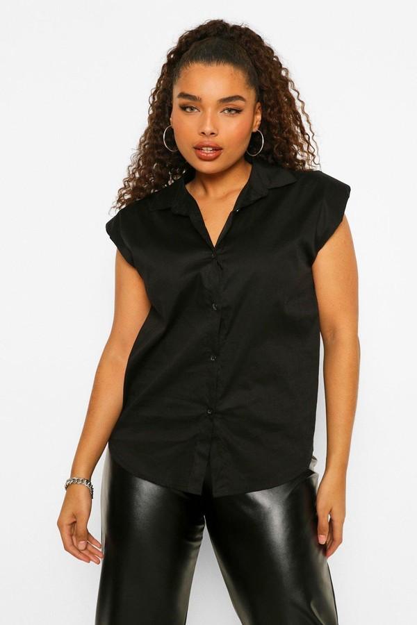boohoo Plus Shoulder Pad Sleeveless Shirt
