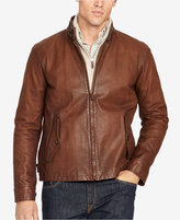 Polo Ralph Lauren Men's Big & Tall Leather Full-Zip Jacket