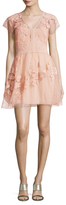 RED Valentino Jersey Embroidered Lace Flared Dress