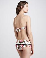 Betsey Johnson Beauty Mark Floral-Print Bandeau Bikini Top