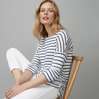 The White Company Ruched Sparkle Stripe T-Shirt, White Navy, 6