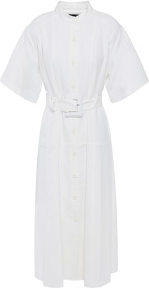 Proenza Schouler Belted Flared Crinkled-woven Midi Dress