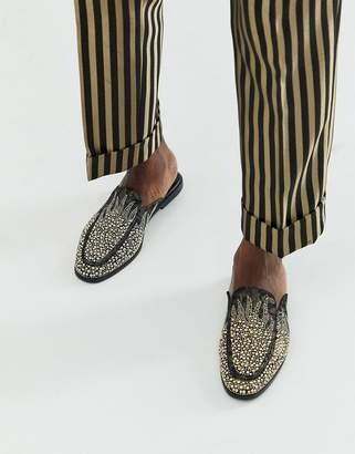 Asos Design DESIGN backless mule loafers in black with all over gold jewel encrusted detail