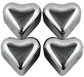 Southern Homewares Heart Shape Stainless Steel Chilling Ice Cubes, Set of 4