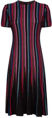 St. John Metallic Stripe Flared Dress