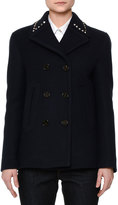 Valentino Wool Pea Coat w/Rockstud Collar, Navy