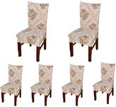 6 x Soulfeel Soft Spandex Fit Stretch Short Dining Room Chair Covers with Printed Pattern, Banquet Chair Seat Protector Slipcover for Hone Party Hotel Wedding Ceremony